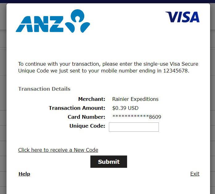 Screenshot of transaction requesting a Visa Secure unique code