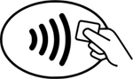 An image of a hand holding a card over a payment signal