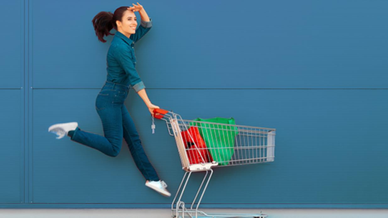 Excited supermarket customer on sale season