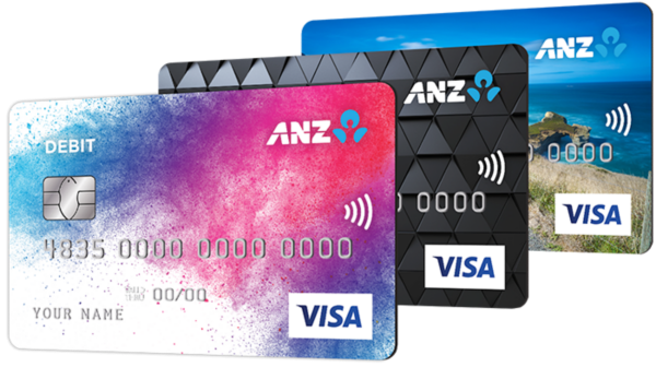 Three ANZ Visa Debit cards with personalised images